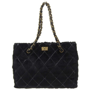CHANEL Lapin Coco Chain Tote Bag Black G Metal Fittings 7s Leather