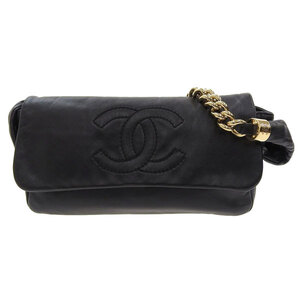CHANEL Chanel Coco 2WAY Chain Shoulder Clutch Black 12s Leather Bag