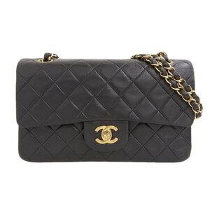 CHANEL Chanel Lambskin W Flap Chain Shoulder Bag Black 4s Leather