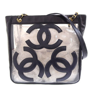 CHANEL Vinyl Triple Coco Chain Tote Bag Shoulder Navy Blue 3rd Leather