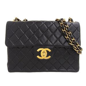 CHANEL Matrasse Lambskin W Chain Shoulder Bag Black Leather