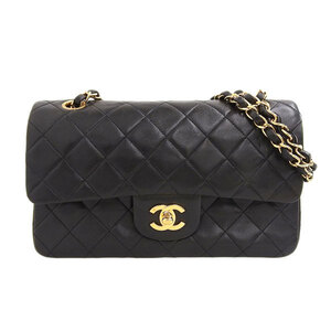 CHANEL Chanel Matrasse W Flap Chain Lambskin Shoulder Bag Black 2nd Leather