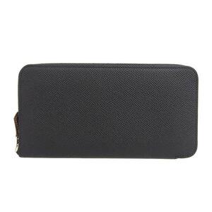 HERMES Hermes Azap Long Silk in Epson Round Zipper Wallet Black Leather