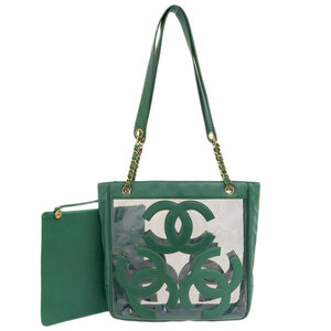 CHANEL Triple Coco Vinyl Tote Bag Green Leather