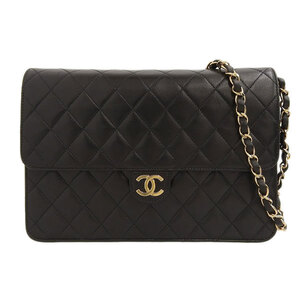 CHANEL Push Lock Matrasse Lambskin Shoulder Bag Black 4s Leather