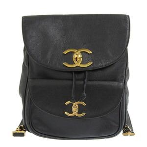 CHANEL Caviar skin Coco mark rucksack backpack gold metal fittings black 3 series leather bag