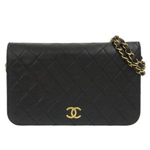 CHANEL Lambskin Matrasse Push Lock Full Flap Chain Shoulder Bag Black 2nd Leather
