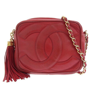 CHANEL lambskin coco mark fringe chain shoulder bag red 0 series leather