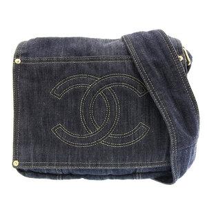 CHANEL Sparkling Denim Shoulder Bag Navy 10s Leather