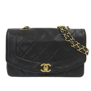 CHANEL Chanel Lambskin Diana Matrasse Single Chain Shoulder Bag Gold Hardware Black 2nd Leather