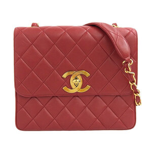 CHANEL Lambskin Deca Coco Chain Shoulder Bag Red 2nd Leather