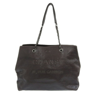 CHANEL Chanel Calf Coco Mark Chain Tote Silver Hardware Brown 18s Leather Bag
