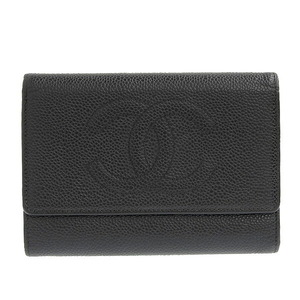 CHANEL Caviar Skin Coco Mark Tri-Fold Wallet Black 8s Leather