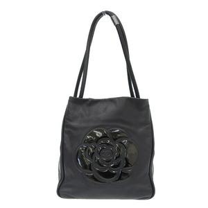 CHANEL Camellia leather tote bag black