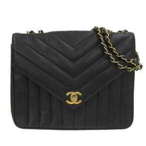 CHANEL V stitch caviar skin double chain shoulder bag gold metal fittings black leather