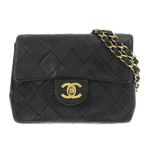 CHANEL Chanel Lambskin Mini Matrasse Chain Shoulder Bag Gold Hardware Black 1st Leather