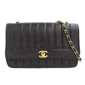 CHANEL Mademoiselle Lambskin Chain Shoulder Bag Black 2nd Leather