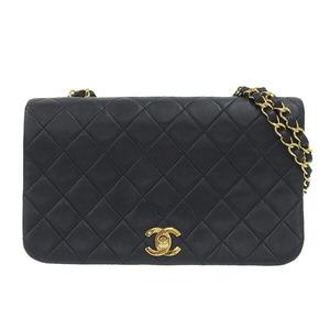CHANEL Chanel Lambskin Matrasse Single Flap Chain Shoulder Bag Gold Hardware Navy Blue 1st Leather