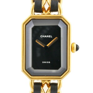 CHANEL Watch Premiere L Gold Black Women's Stainless Steel Leather