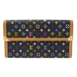LOUIS VUITTON Multicolor Portofeuil International Tri-Fold Wallet Noir M92658 Leather
