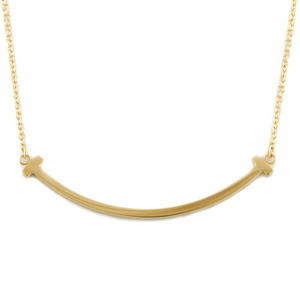 TIFFANY & Co. Tiffany K18 Necklace T Smile Small Gold Ladies