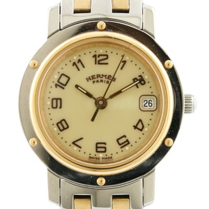 HERMES Hermes Gold Plated Watch Clipper Silver Ladies Stainless Steel