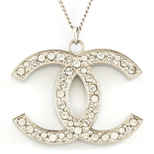 CHANEL Necklace Coco Mark Rhinestone Long Silver Ladies Metal