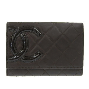 CHANEL Cambon Bi-Fold Compact Wallet Brown 12s Leather
