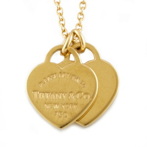 TIFFANY & Co. Tiffany K18 Necklace Return to Heart Double Mini Gold Ladies