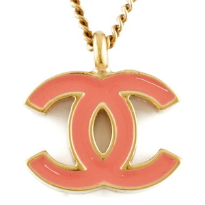 CHANEL Necklace Coco Mark Gold Pink Ladies Metal