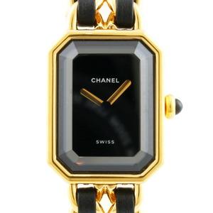 CHANEL watch elegant bracelet premiere L gold black ladies stainless steel leather