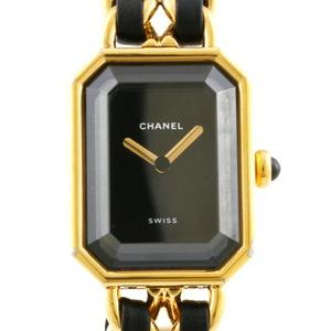 CHANEL watch elegant bracelet premiere M gold black ladies stainless steel leather
