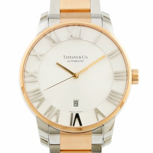 TIFFANY & Co. Tiffany Watch Atlas Dome Silver Gold Men's Stainless Steel K18 Rose