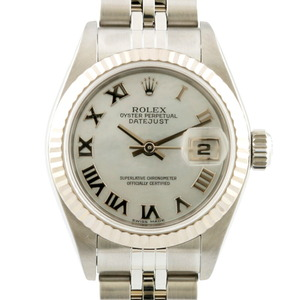 ROLEX Watch Oyster Perpetual White Shell Datejust 79174 Silver Ladies Stainless Steel K18 Gold