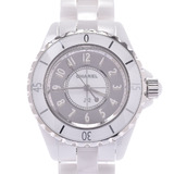 CHANEL J12 33mm H4861 Boys White Ceramic Stainless Steel Watch Quartz Mirror Dial