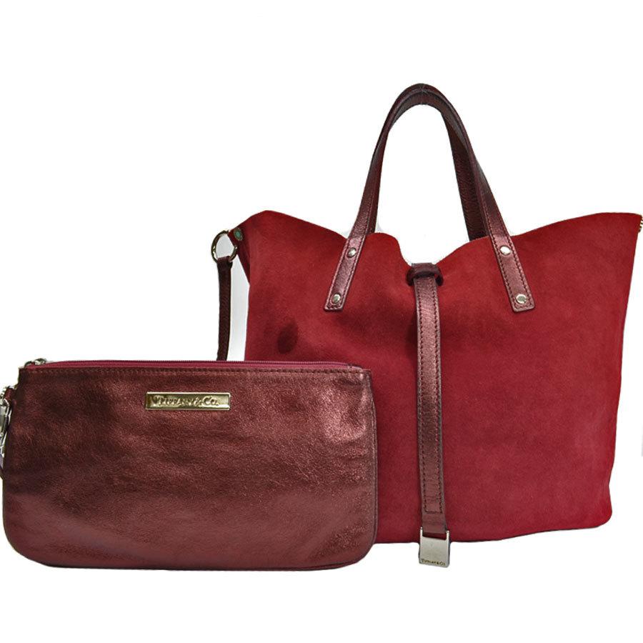 Tiffany & Co. Bag Reversible Bordeaux Silver Suede Leather Handbag Ladies