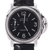 OFFICINE PANERAI Luminor Marina Bezel Diamond PAM00031 Men's Stainless Steel Leather Watch Manual Winding Black Dial