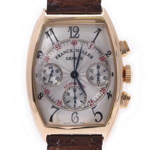 FRANCK MULLER tonneau carvex chrono 7850CC men's YG leather watch self-winding silver dial