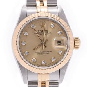 ROLEX ロレックス デイトジャスト 10Pダイヤ  69173G レディース YG ステンレススチール 時計 自動巻き シャンパン文字盤