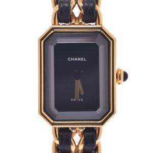 CHANEL シャネル プルミエール サイズL H0001 レディース GP レザー 時計 クォーツ 黒文字盤
