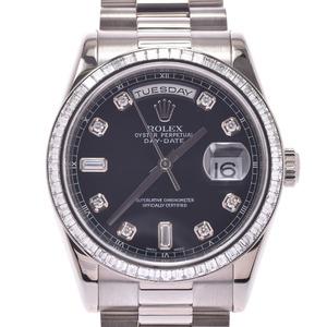 ROLEX ロレックス デイデイト 10Pダイヤ ベゼルバケットダイヤ 118399A メンズ WG 時計 自動巻き 黒文字盤