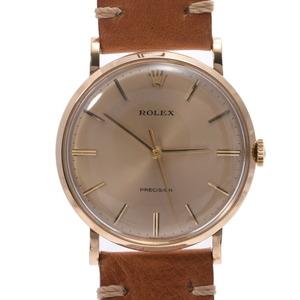 ROLEX ロレックス プレジション アンティーク 9659 メンズ YG レザー 時計 手巻き シャンパン文字盤