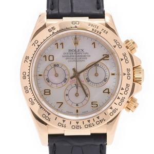 ROLEX ロレックス デイトナ 16518NA メンズ YG レザー 時計 自動巻き ホワイトシェル文字盤