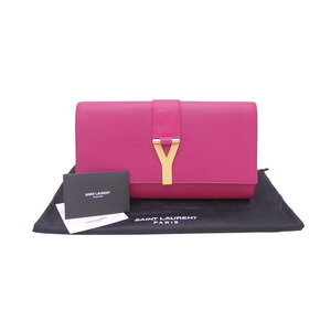 Saint Laurent clutch bag Y logo pink leather gold hardware ladies