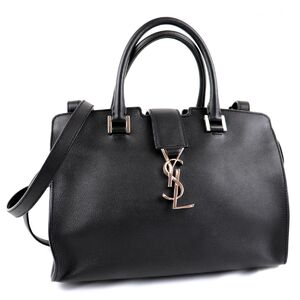 Saint Laurent Baby Kabas 2way Handbag Black Silver Hardware Ladies Leather Shoulder