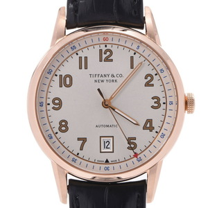 TIFFANY & Co. Tiffany CT60 back scale men's PG leather watch self-winding white dial