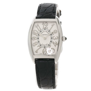 Franck Muller 1752QZREL Tonow Carbex Watch Stainless Steel Leather Ladies
