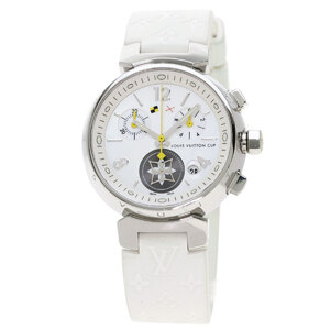 Louis Vuitton Q132C Tambour Lovely Cup MM Watch Stainless Steel Rubber Ladies