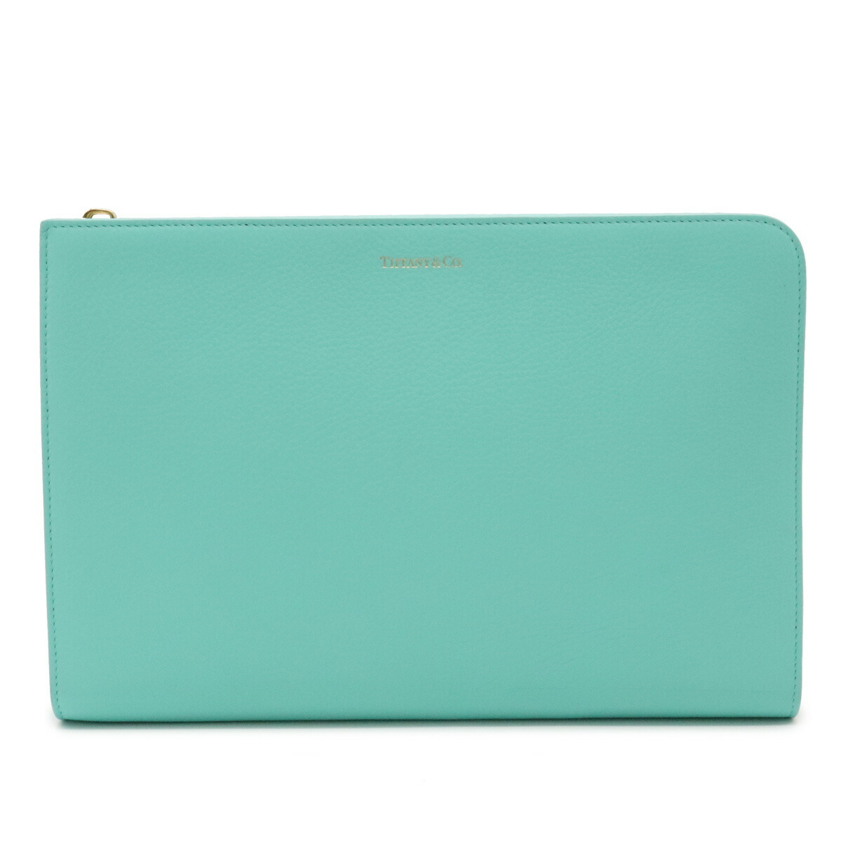 TIFFANY & Co. Tiffany Clutch Bag Second Pouch Leather Blue Gold Hardware