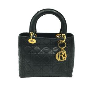 Christian Dior Christian Lady Canage Women's Tote Bag Gold Hardware Leather